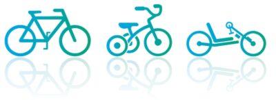 Piktogramm verschiedener Fahrradtypen
