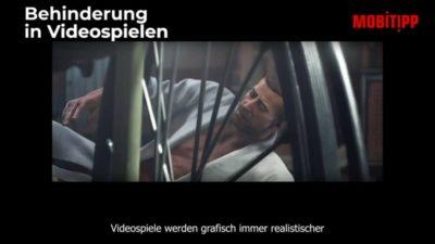 Mann in einem Videospiel, der auf dem Boden liegt und versucht,, in seinen Rollstuhl zu kommen