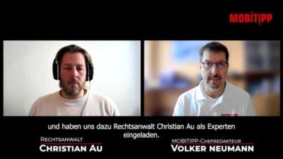 Screenshot von zwei Männern im Online-Interview