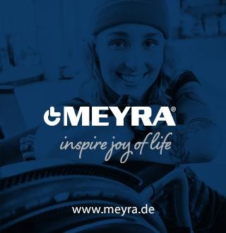 Schriftzug Meyra auf blauem Grund