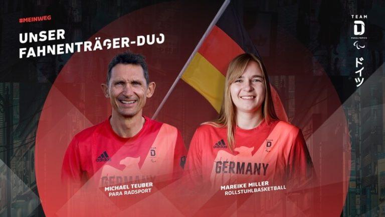 Zwei Sportler die bei den Paralympics die deutsche Fahne tragen werden